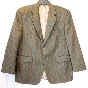 LAUREN RALPH LAUREN Green Wool Herringbone Blazer